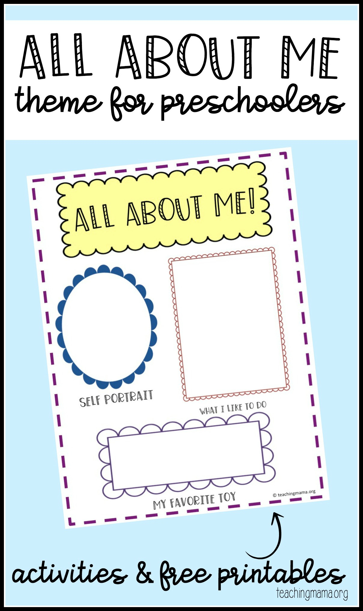 All About Me Preschool Theme - Free Printable Early Childhood Activities
