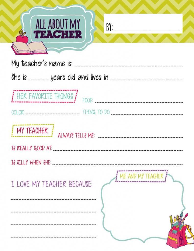 All About My Teacher Free Printable 253294E45795656Bb1518D61B13Bbecf - All About My Teacher Free Printable