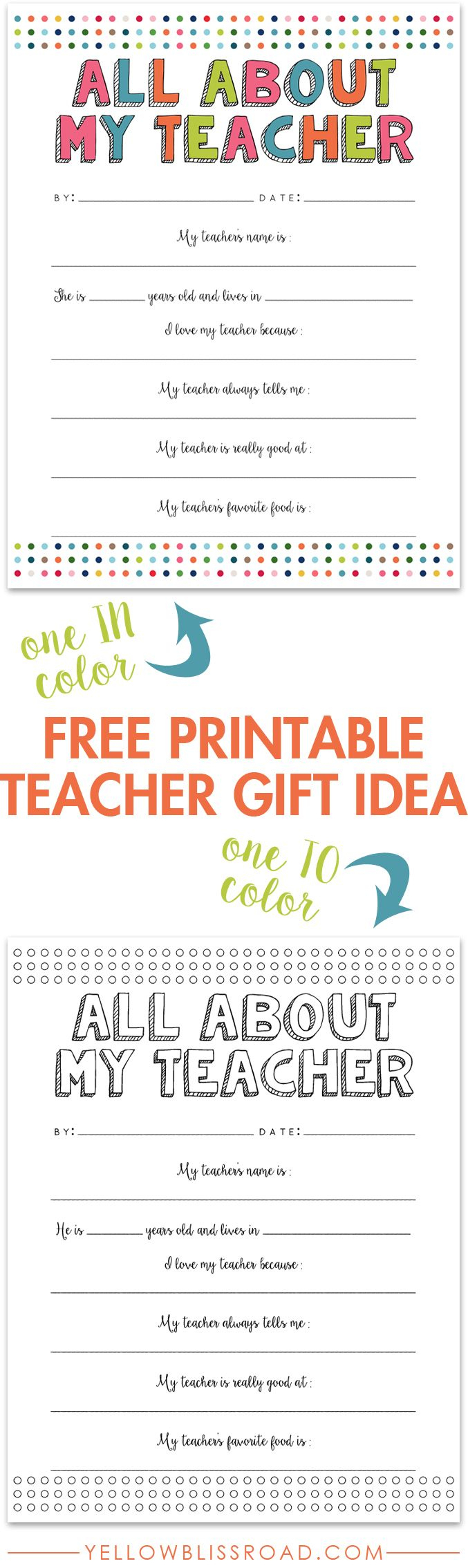 All About My Teacher Free Printable   Best Of Pinterest   Pinterest - All About My Teacher Free Printable