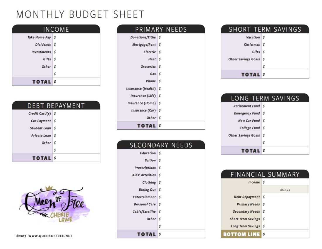 All New: Free Printable Budget Forms You Can Edit - Queen Of Free - Free Printable Forms