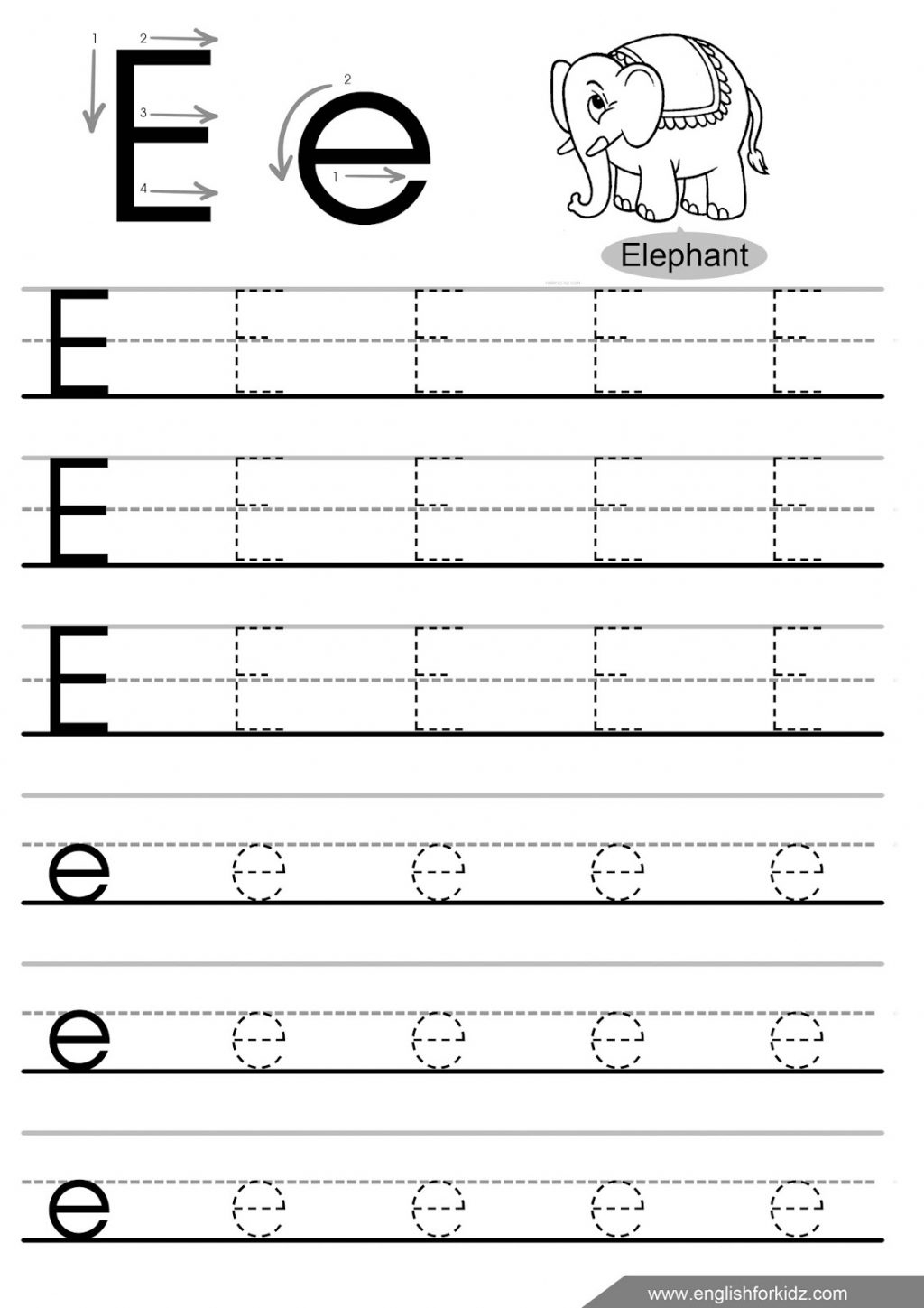 Alphabet Tracing Worksheets For Kindergarten Kindergarten Letter E - Free Printable Preschool Worksheets Tracing Letters