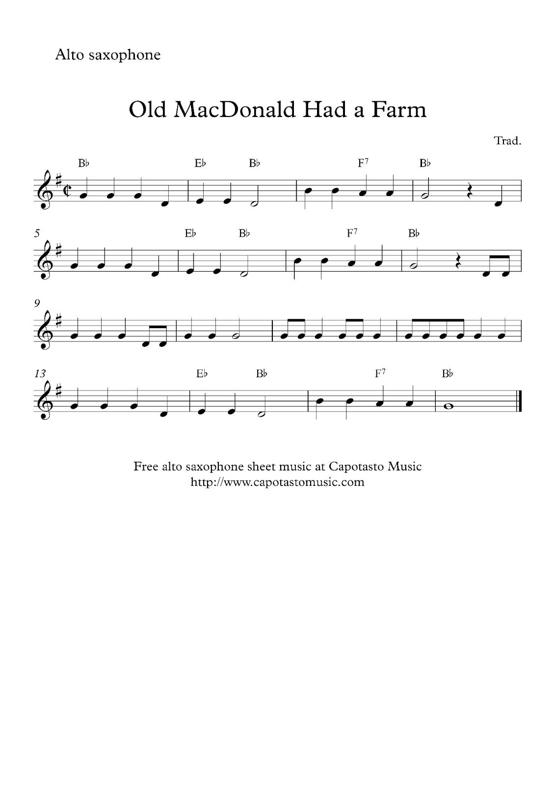 Alto Sax Easy Songs | Free Sheet Music Scores: Free Easy Alto - Free Printable Alto Saxophone Sheet Music