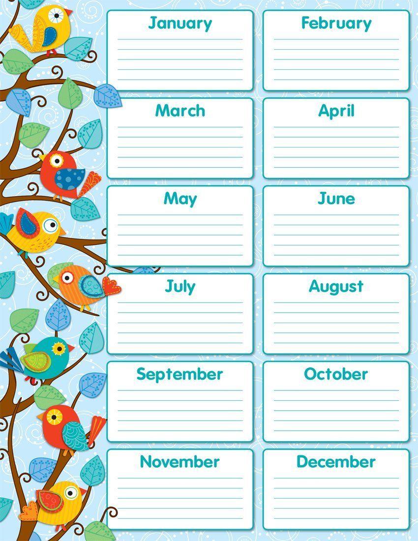 Amazon : Carson Dellosa Boho Birds Birthday Chart (114187 - Free Printable Birthday Graph