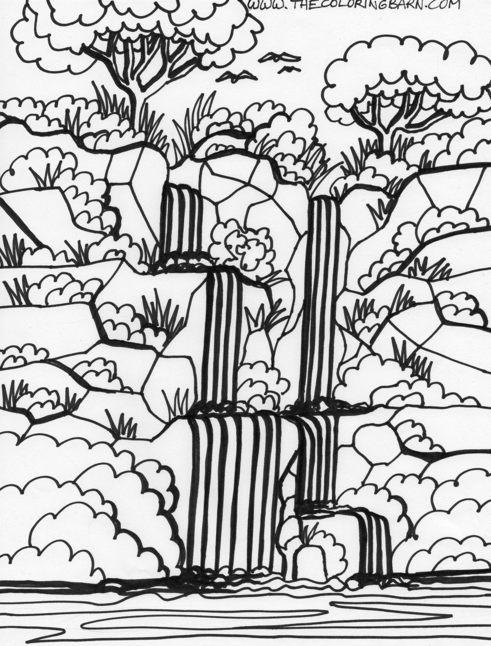 Amazon Rainforest Coloring Pages For Kids | Free Download Coloring - Free Printable Waterfall Coloring Pages