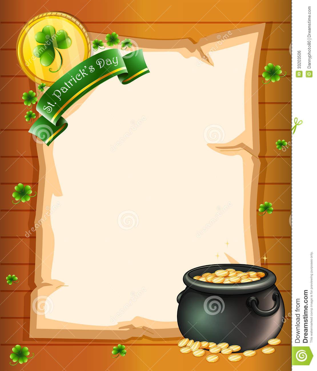 An Empty Stationery For St. Patrick's Day Stock Illustration - Free Printable St Patricks Day Stationery