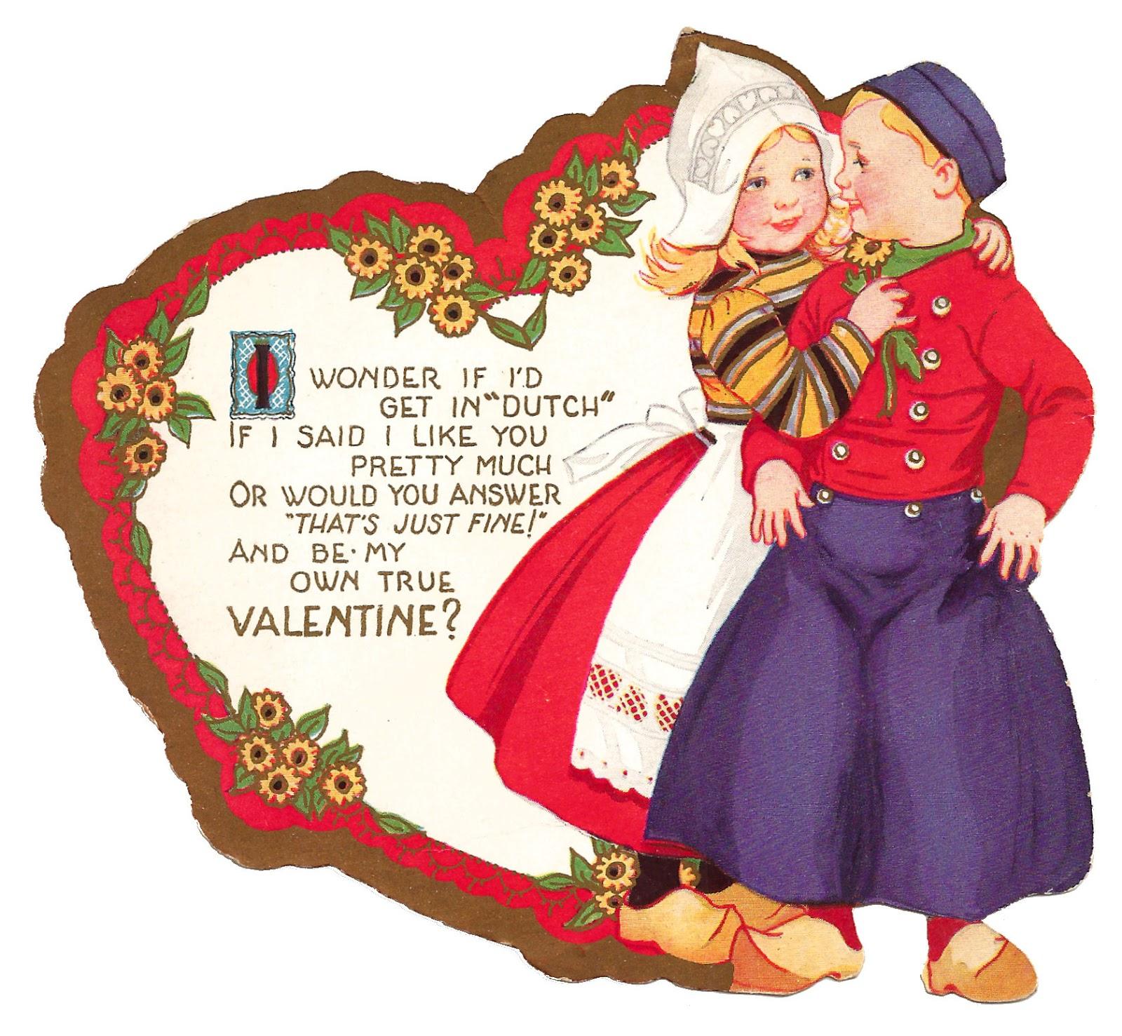 Antique Images: Free Printable Valentine Dutch Couple Romantic - Free Printable Valentine Graphics