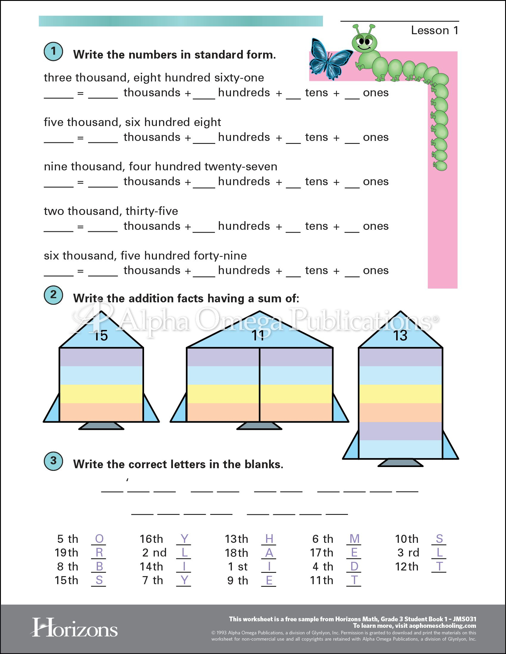 Aop Horizons Free Printable Worksheet Sample Page Download For - Free Homeschool Printable Worksheets
