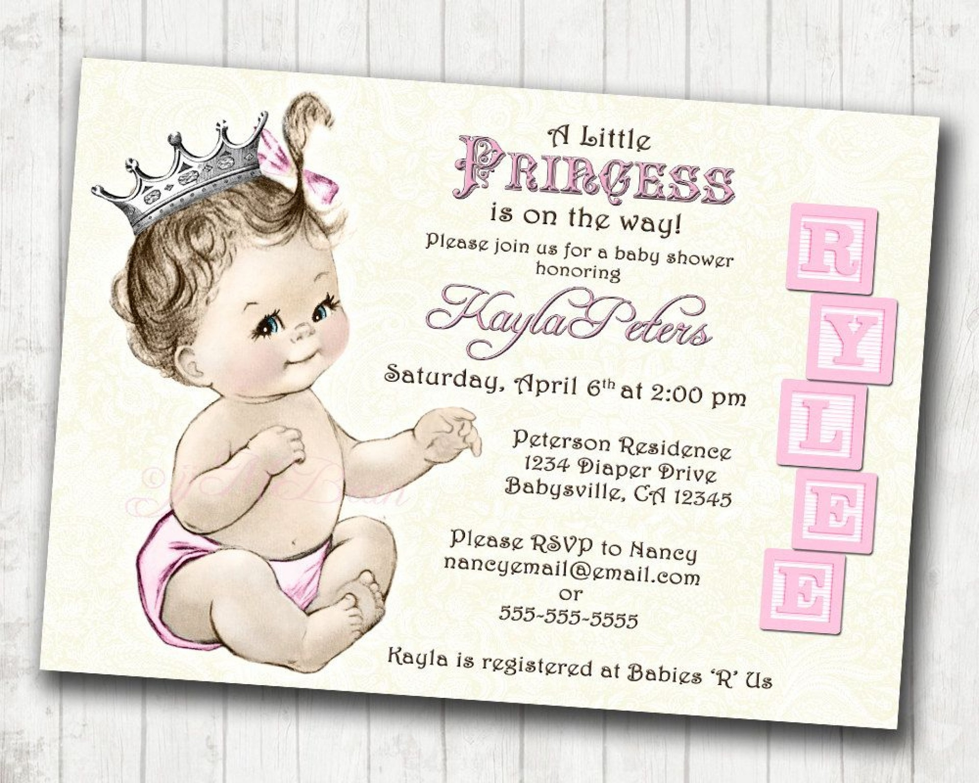 Astounding Princess Baby Shower Invitations Templates ~ Ulyssesroom - Free Printable Princess Baby Shower Invitations