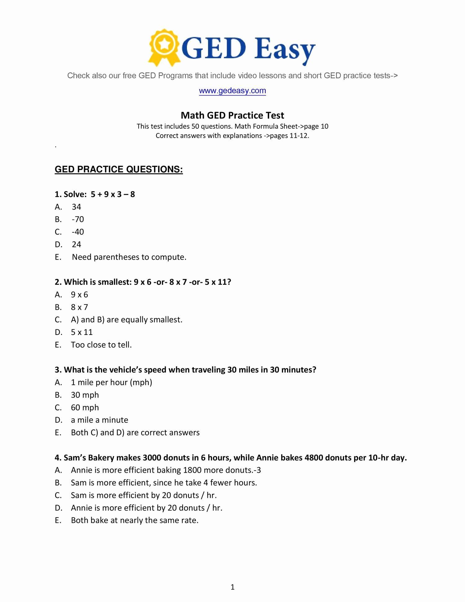 Asvab Math Worksheets - Briefencounters Worksheet Template Samples - Free Printable Asvab Math Practice Test