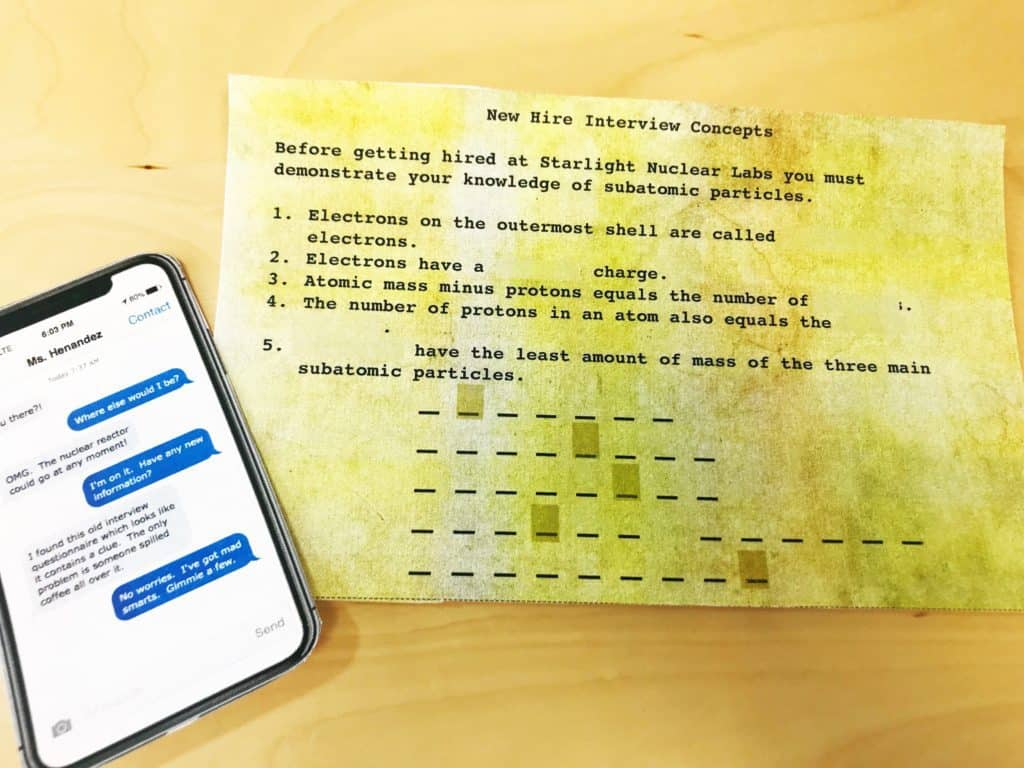 Atoms- Science Escape Room | Kesler Science - Free Printable Escape Room Game
