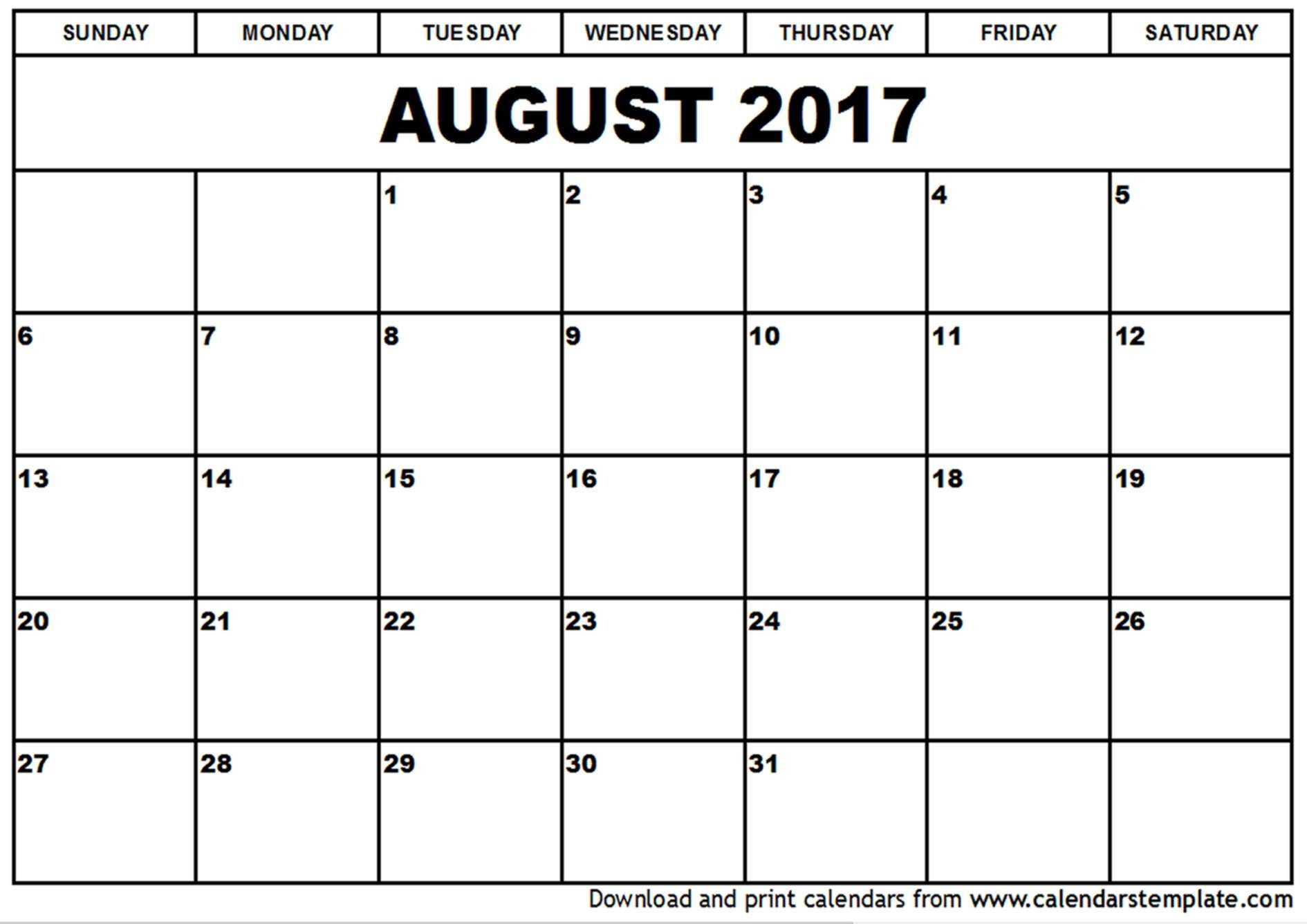 August 2017 Printable Calendar | August 2017 Calendar | Pinterest - Free Printable August 2017