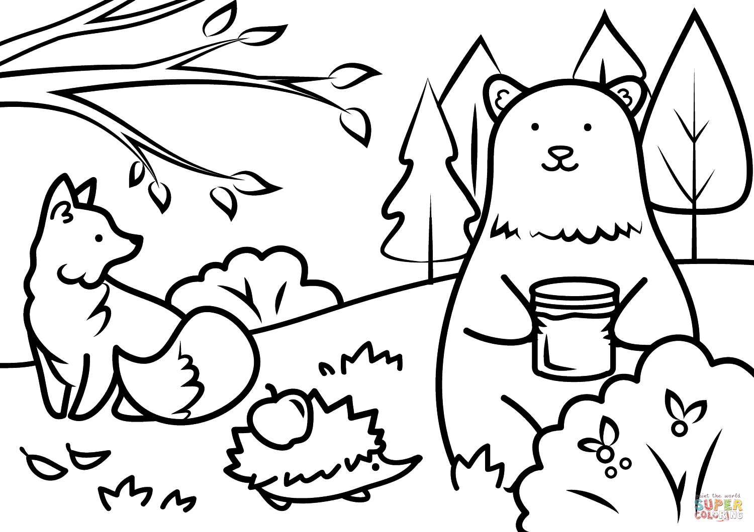 Autumn Animals Coloring Page | Free Printable Coloring Pages - Free Printable Animal Coloring Pages