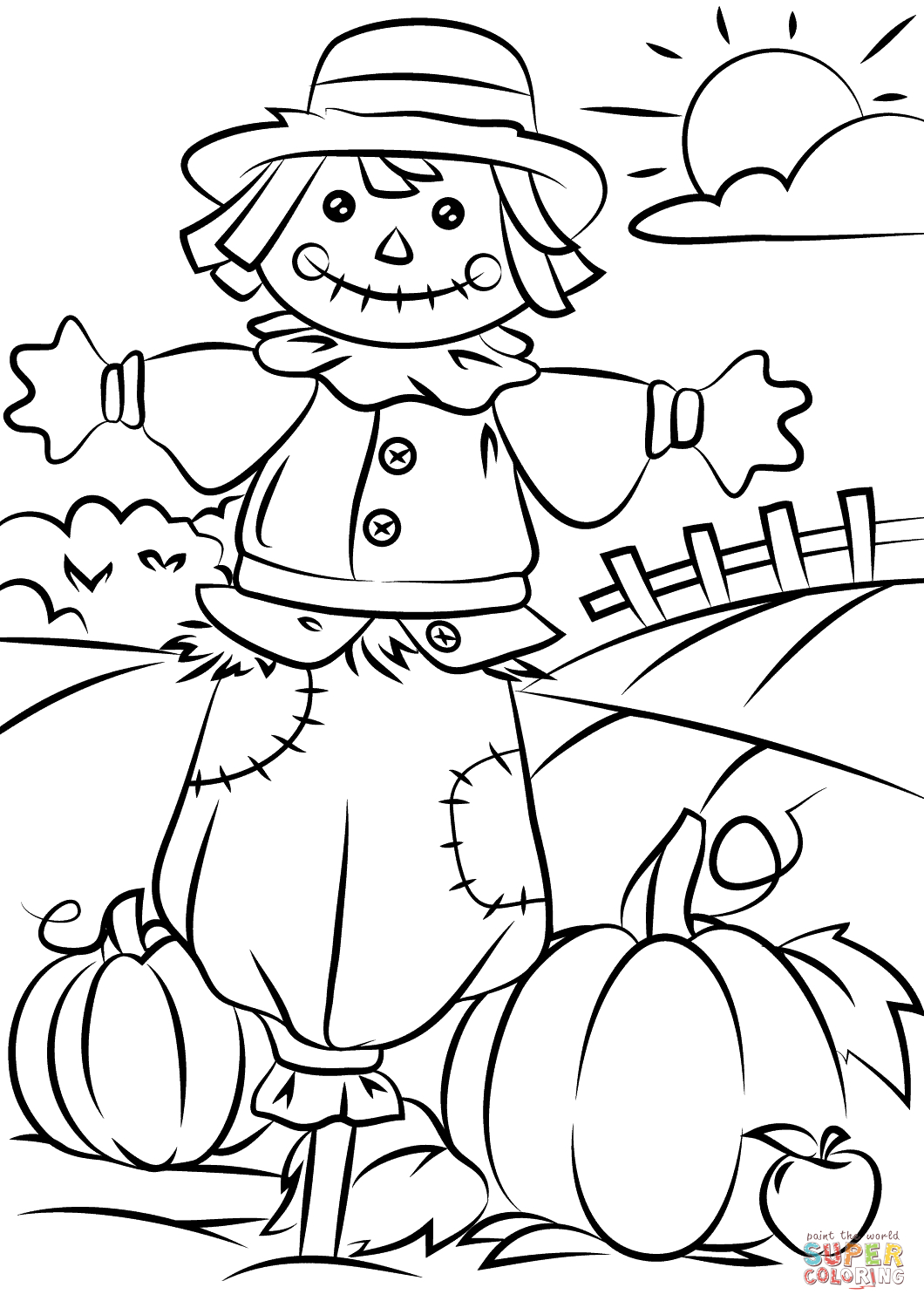 Autumn Scene With Scarecrow Coloring Page | Free Printable Coloring - Free Printable Leaf Coloring Pages