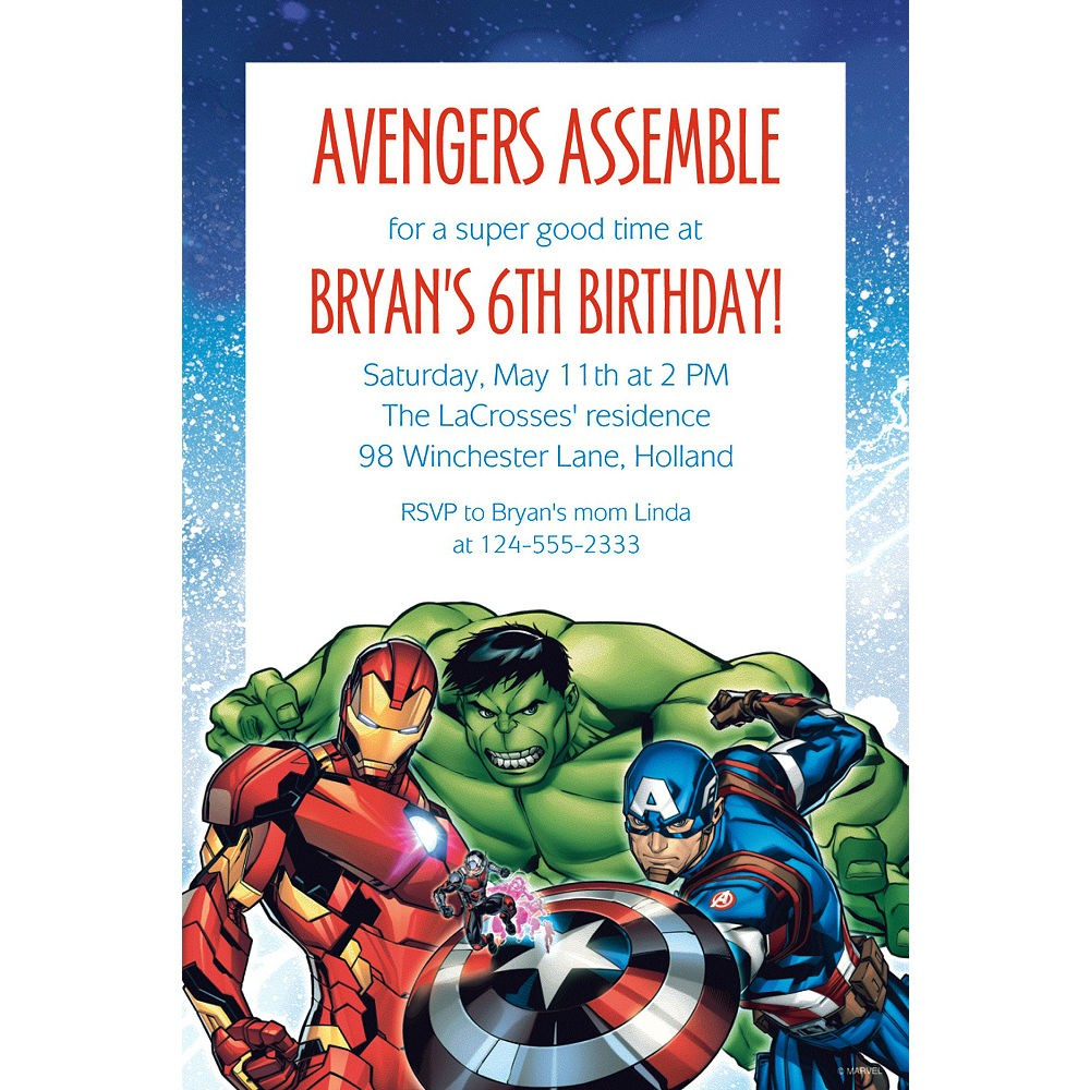 Avengers Birthday Invitations - Ingeniocity.co - Avengers Party Invitations Printable Free
