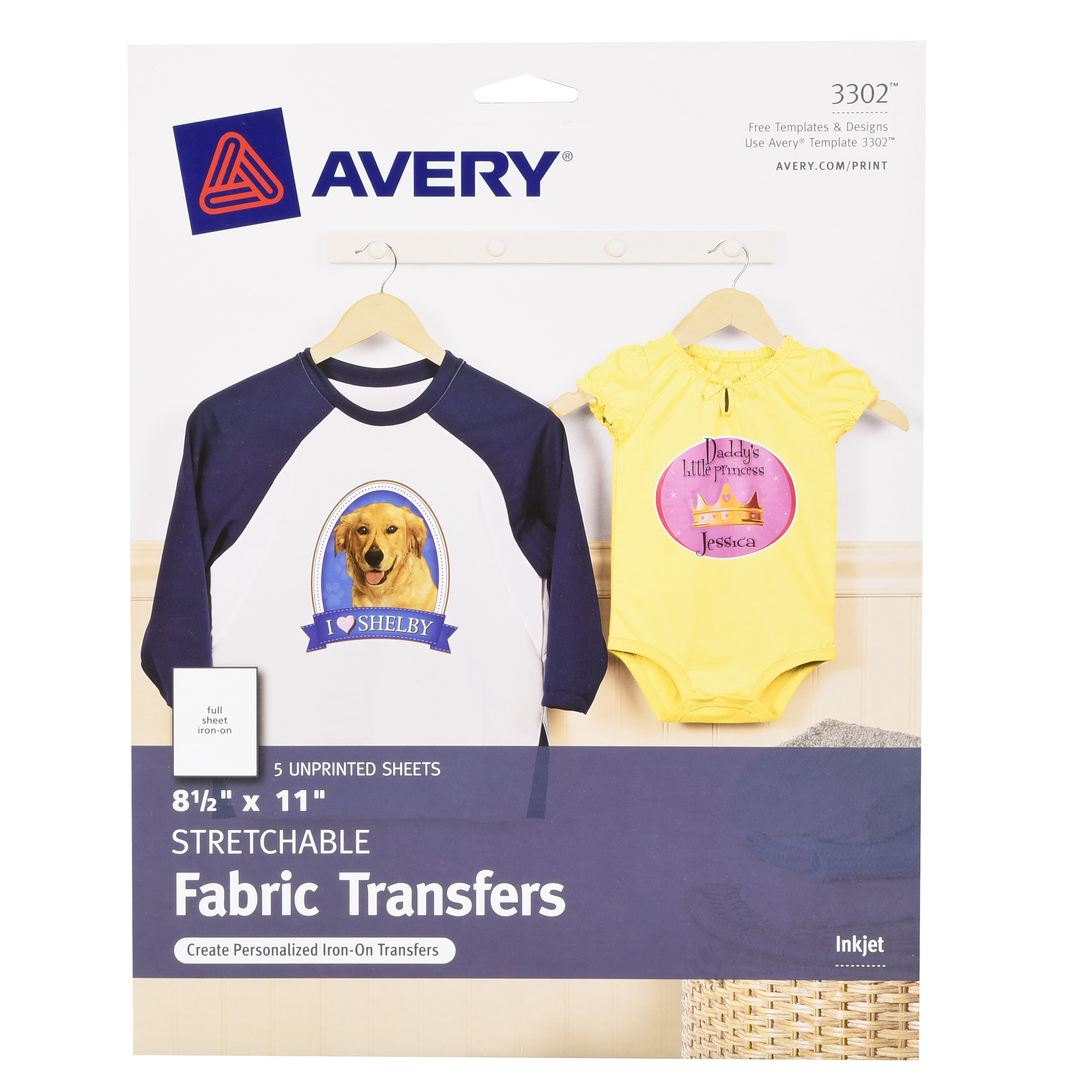 Avery Printable Stretchable Transfer Sheets 5Pc - Walmart - Free Printable Iron On Transfers For T Shirts
