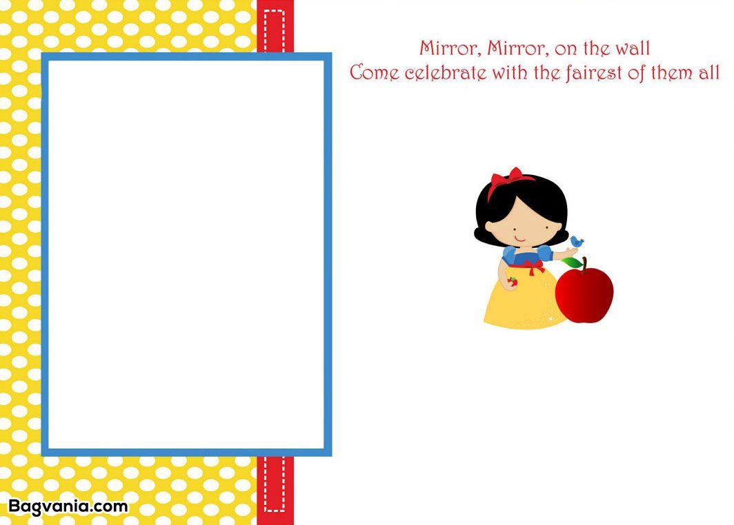 Awesome Free Printable Snow White Birthday Invitations   Bagvania - Snow White Invitations Free Printable