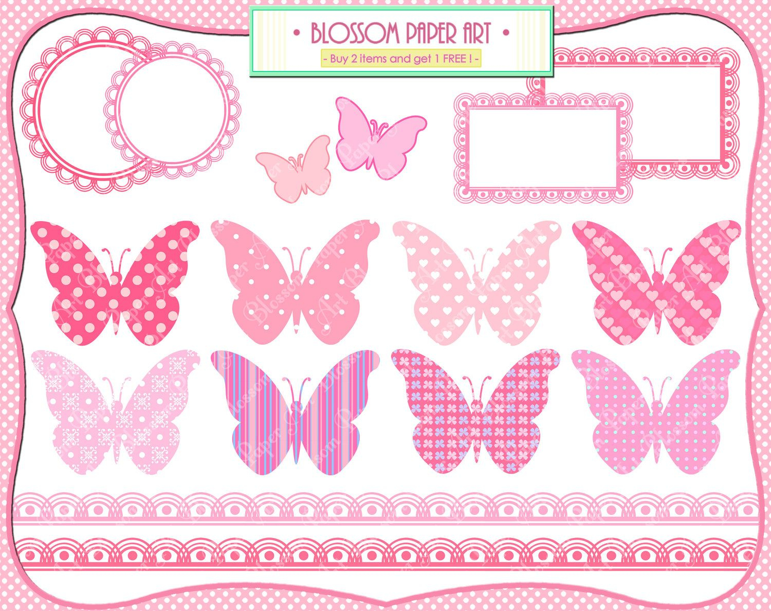 Baby Girl Butterflies - Pink - Baby Shower - Printables - Free Printable Baby Shower Clip Art