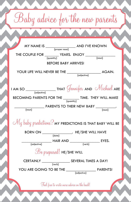 Baby Mad Libs - Baby Advice, Printable Digital File. $15.00, Via - Baby Shower Mad Libs Printable Free