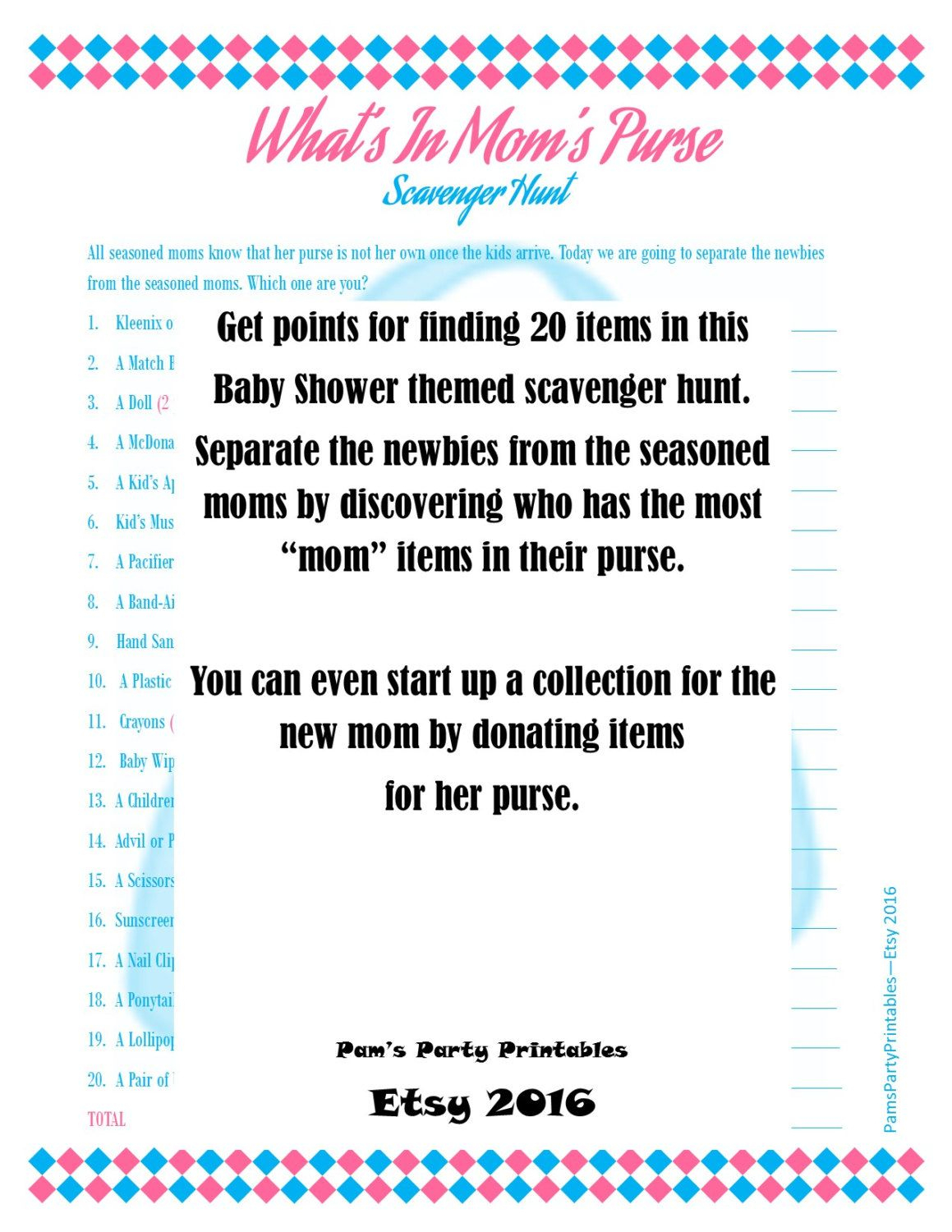 Baby Shower Game What's In Your Purse Scavenger Hunt - Baby Shower - Free Printable Baby Shower Games What's In Your Purse
