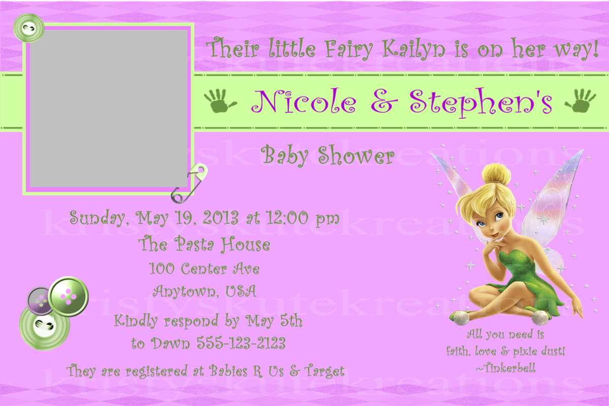 Baby Shower Invitation Tinkerbell Disney Baby Girl Digital | Etsy - Free Printable Tinkerbell Baby Shower Invitations