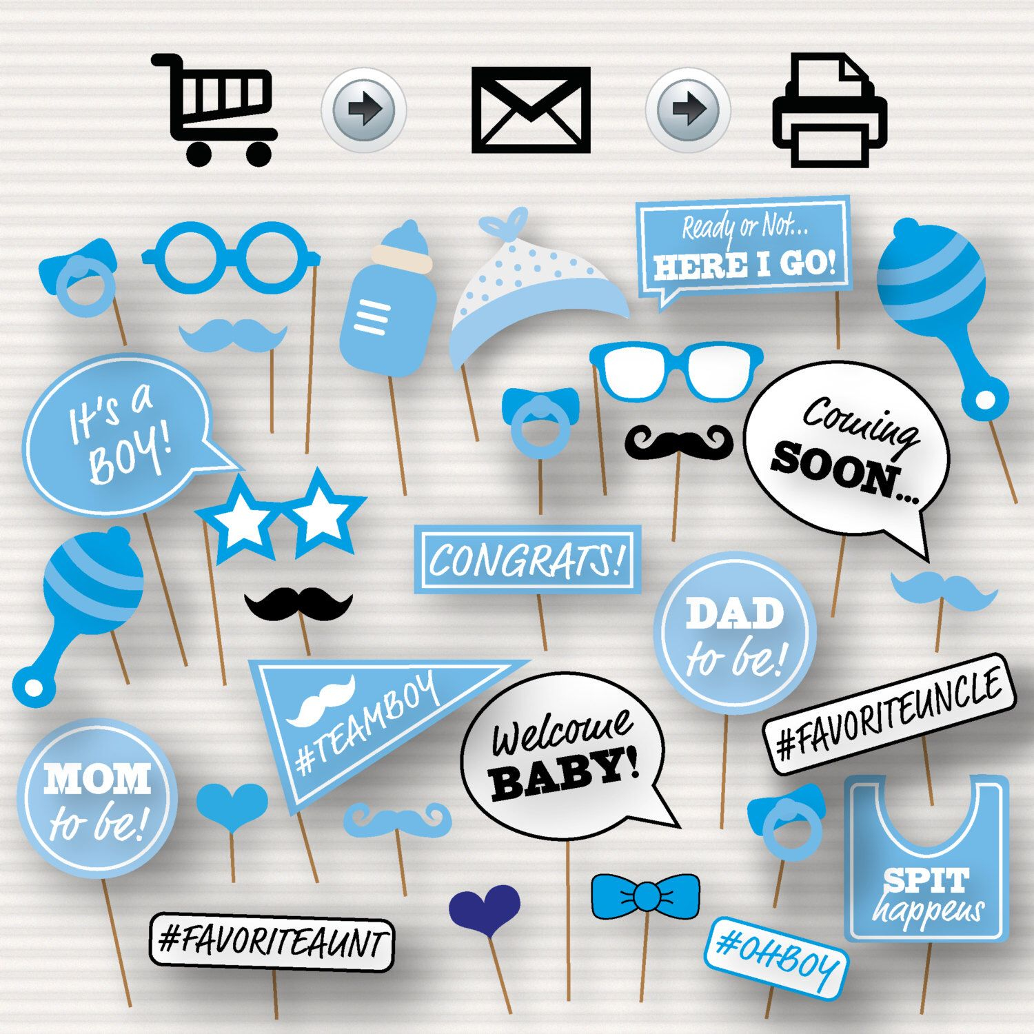 Baby Shower Printable Photo Booth Props - Baby Shower Photobooth - Free Printable Boy Baby Shower Photo Booth Props