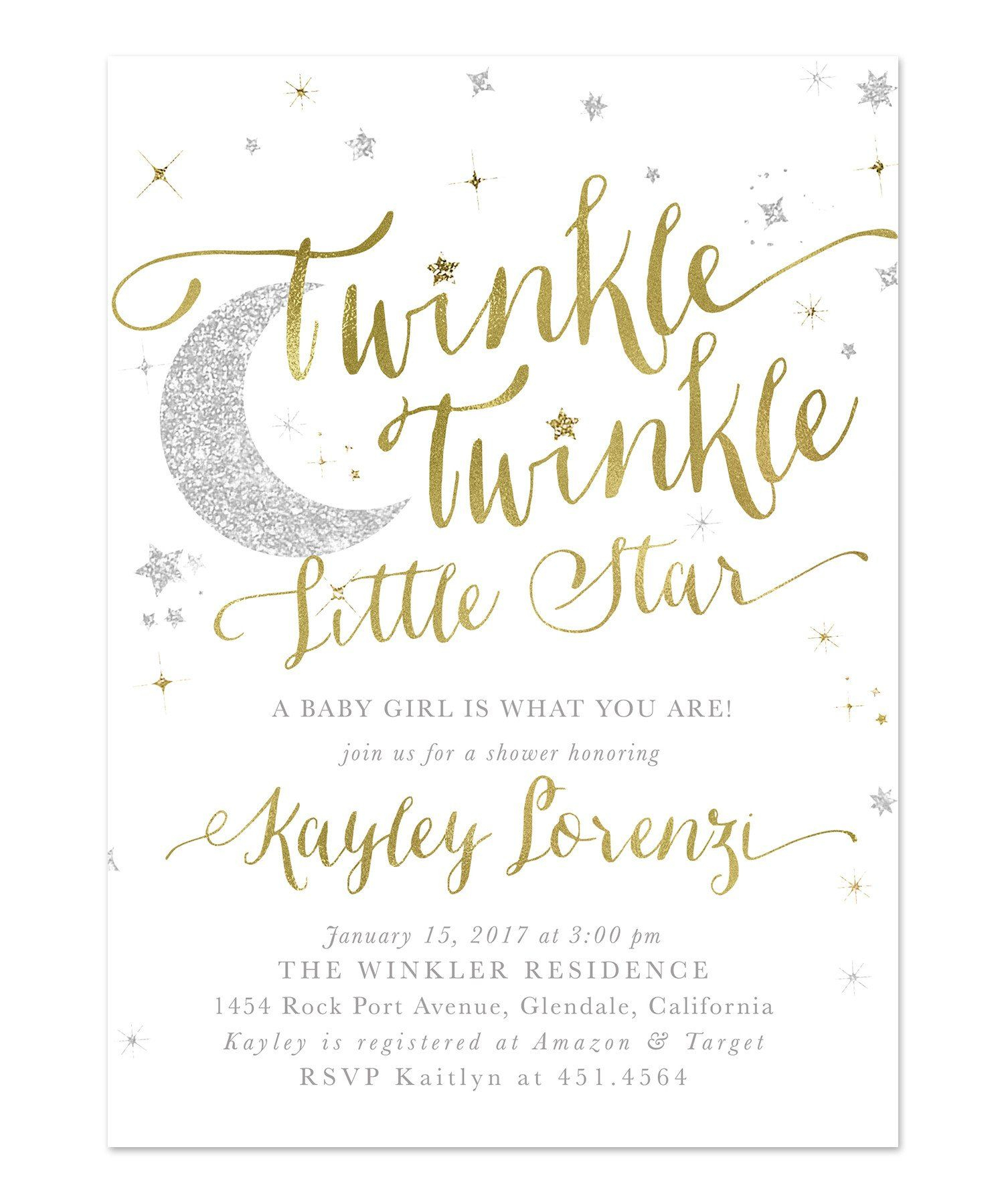 Baby Shower Printable Twinkle Twinkle Little Star Invitation - Gold - Free Printable Twinkle Twinkle Little Star Baby Shower Invitations