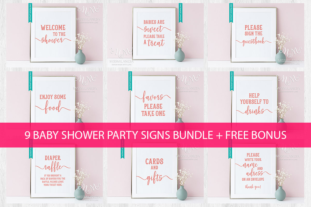 Baby Shower Signs Printable Baby Shower Package Baby Shower   Etsy - Free Printable Baby Shower Table Signs