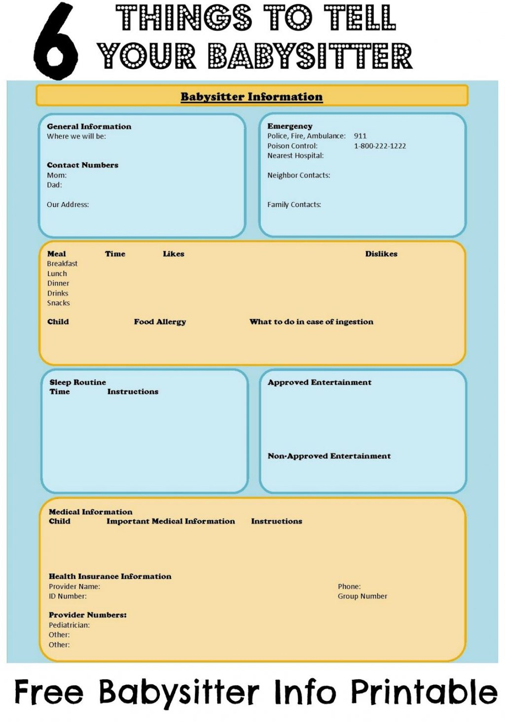 Babysitter Checklist Information Sheet With Free Ble Children Safety - Free Printable Parent Information Sheet