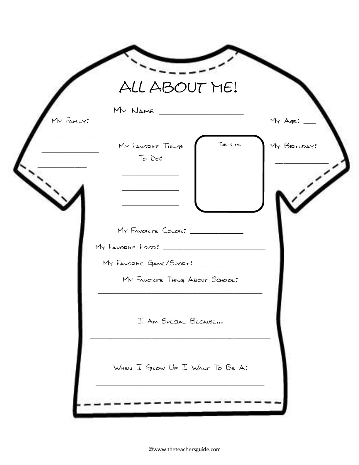 Back To School Printouts From The Teacher's Guide - Free Printable All About Me Poster