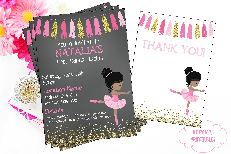 Ballet Recital Invitation Ballerina Dance Invitation Dance | Etsy - Free Printable Dance Recital Cards