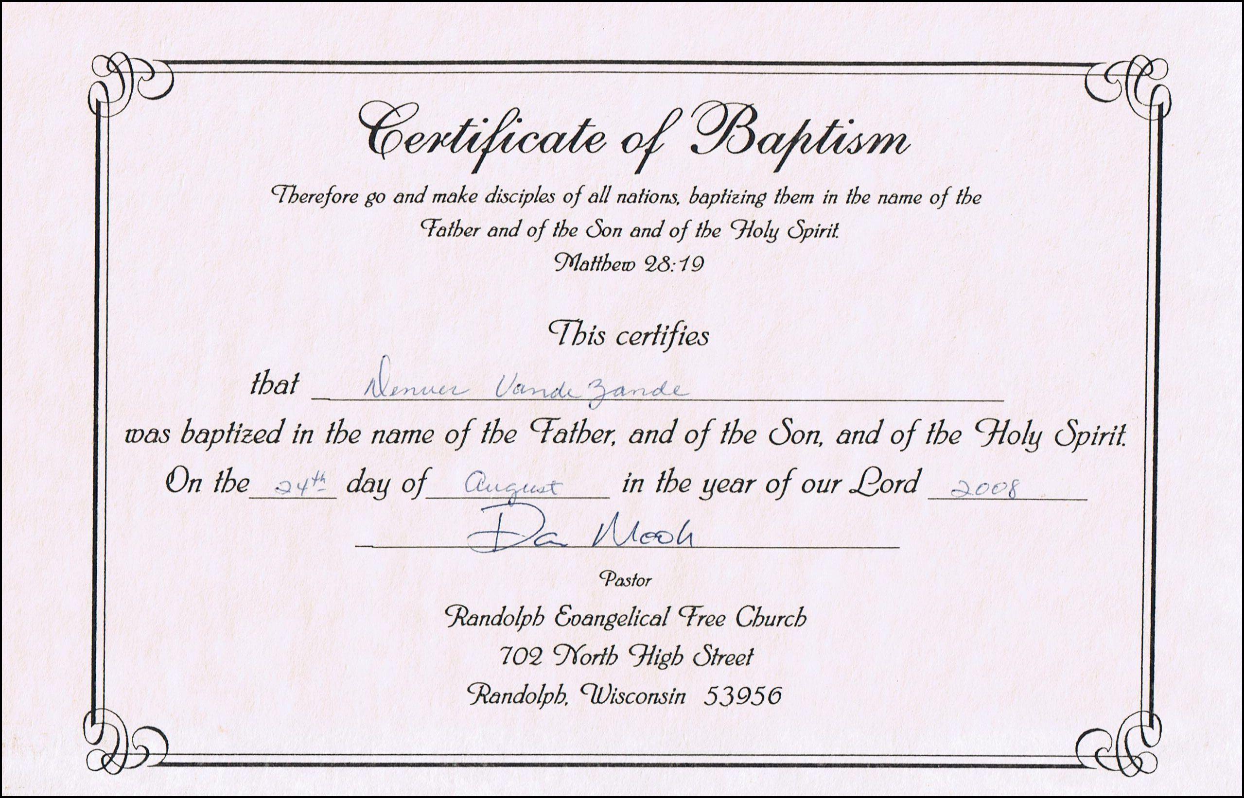 Baptism Certificates Free Online | Denver's Certificate Of Baptism - Free Online Printable Baptism Certificates