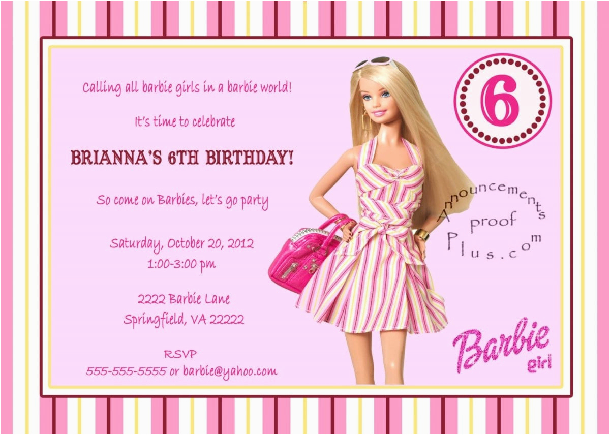 Barbie Birthday Invitations Templates Free | Birthdaybuzz - Free Printable Barbie Birthday Party Invitations