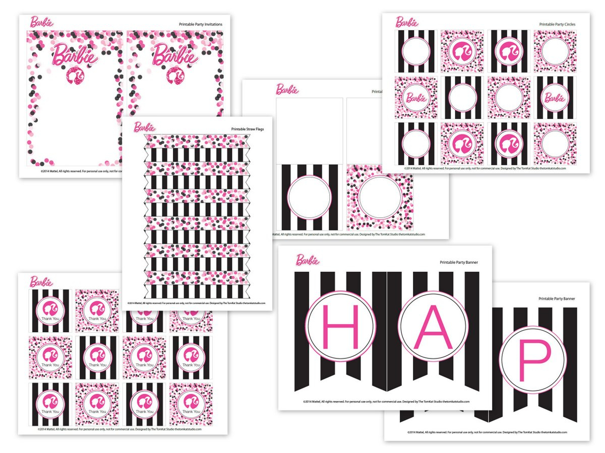 Barbie Birthday Party With Free Printable Barbie Designs - Free Printable Barbie Cupcake Toppers