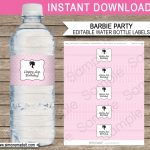Barbie Party Water Bottle Labels | Editable Template   Free Printable Paris Water Bottle Labels