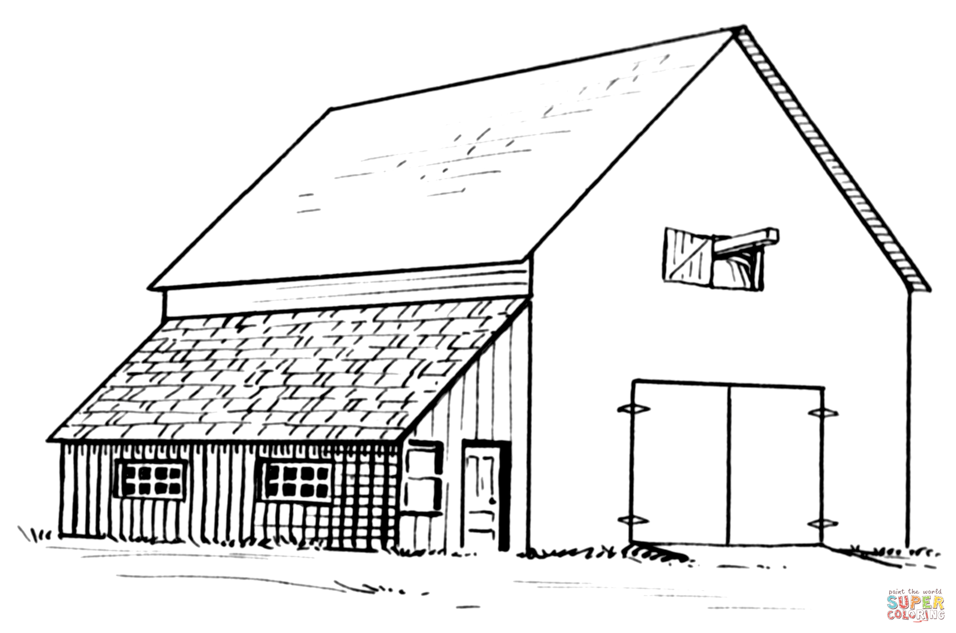 Barn And Lean-To Coloring Page | Free Printable Coloring Pages - Free Printable Barn Coloring Pages