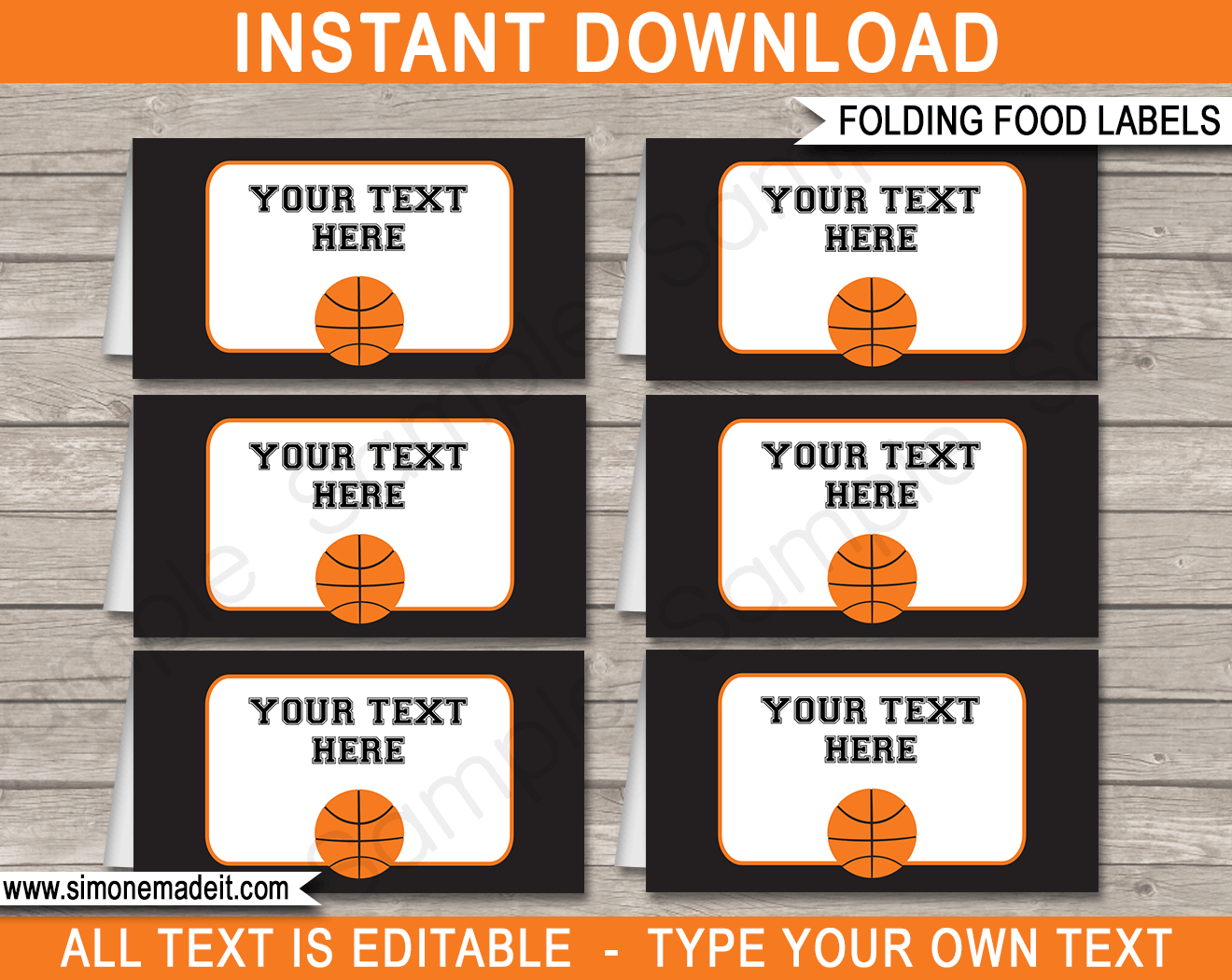 Basketball Party Food Labels | Place Cards | Party Decorations - Free Printable Basketball Cards