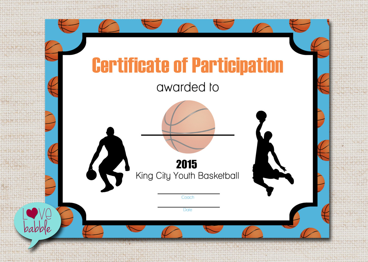 Basketball Sports Award Certificate 8.5 X 11 Printable Digital   Etsy - Basketball Participation Certificate Free Printable