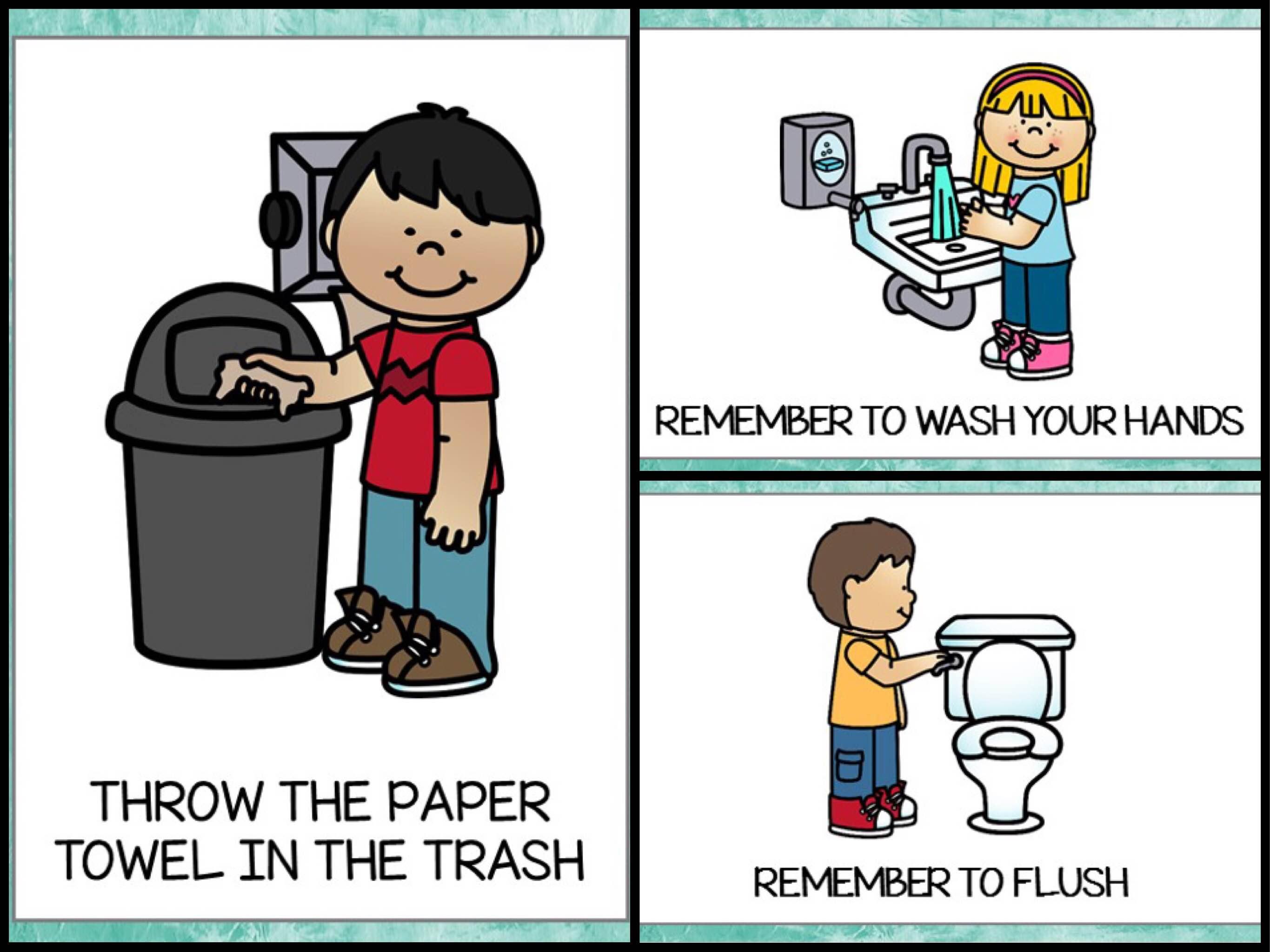 Bathroom Posters {Free Printable} - Teach Junkie - Free Printable Flush The Toilet Signs