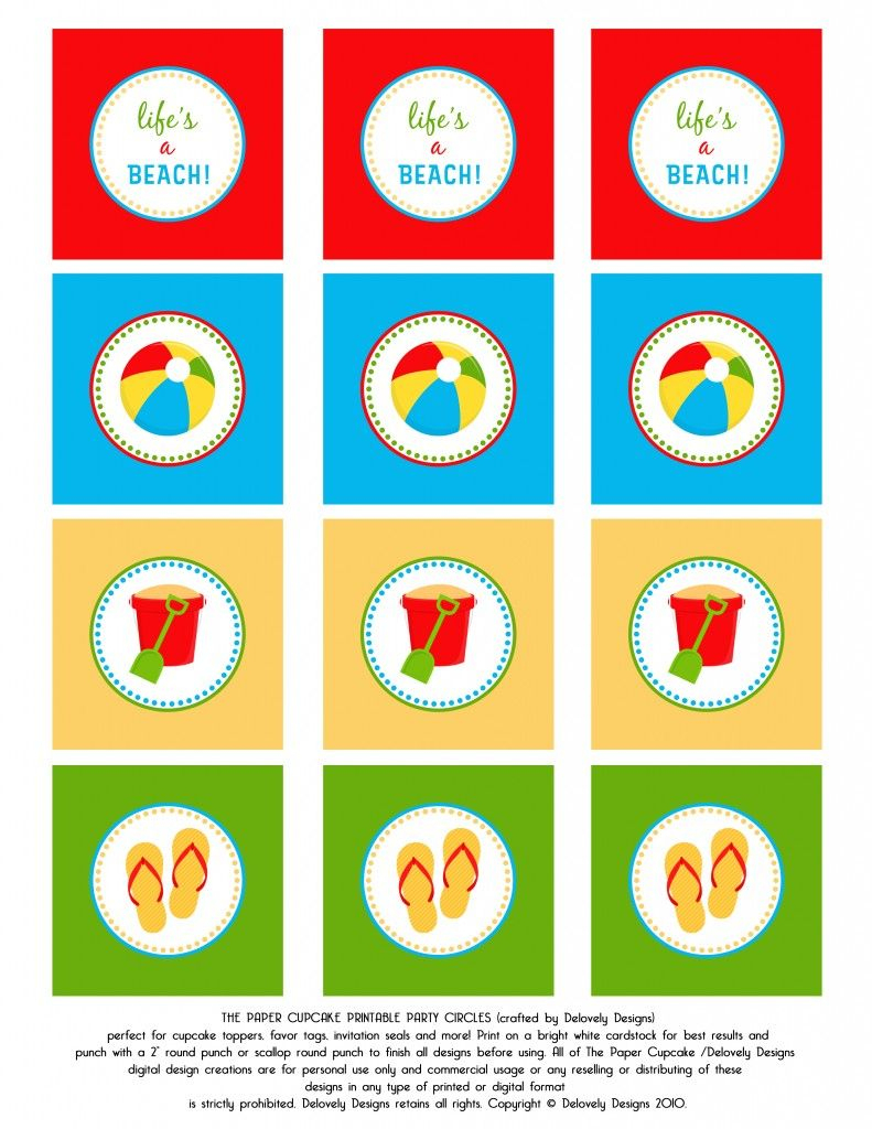 Beach Party! Toppers And Banner! Free Printable. | Crafts I Love - Free Printable Party Circles