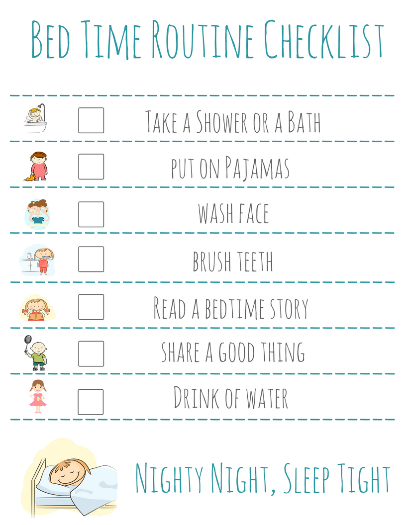 Bed Time Routine Checklist: Free Printable - | Kid's Activities And - Free Printable Bedtime Routine Chart