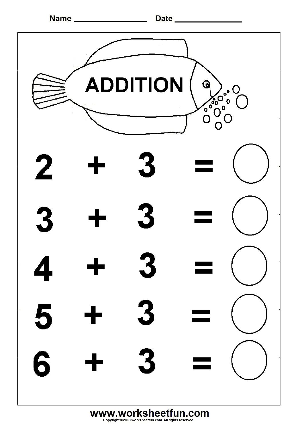 Beginner Addition – 6 Kindergarten Addition Worksheets / Free - Free Printable Math Worksheets For Kindergarten