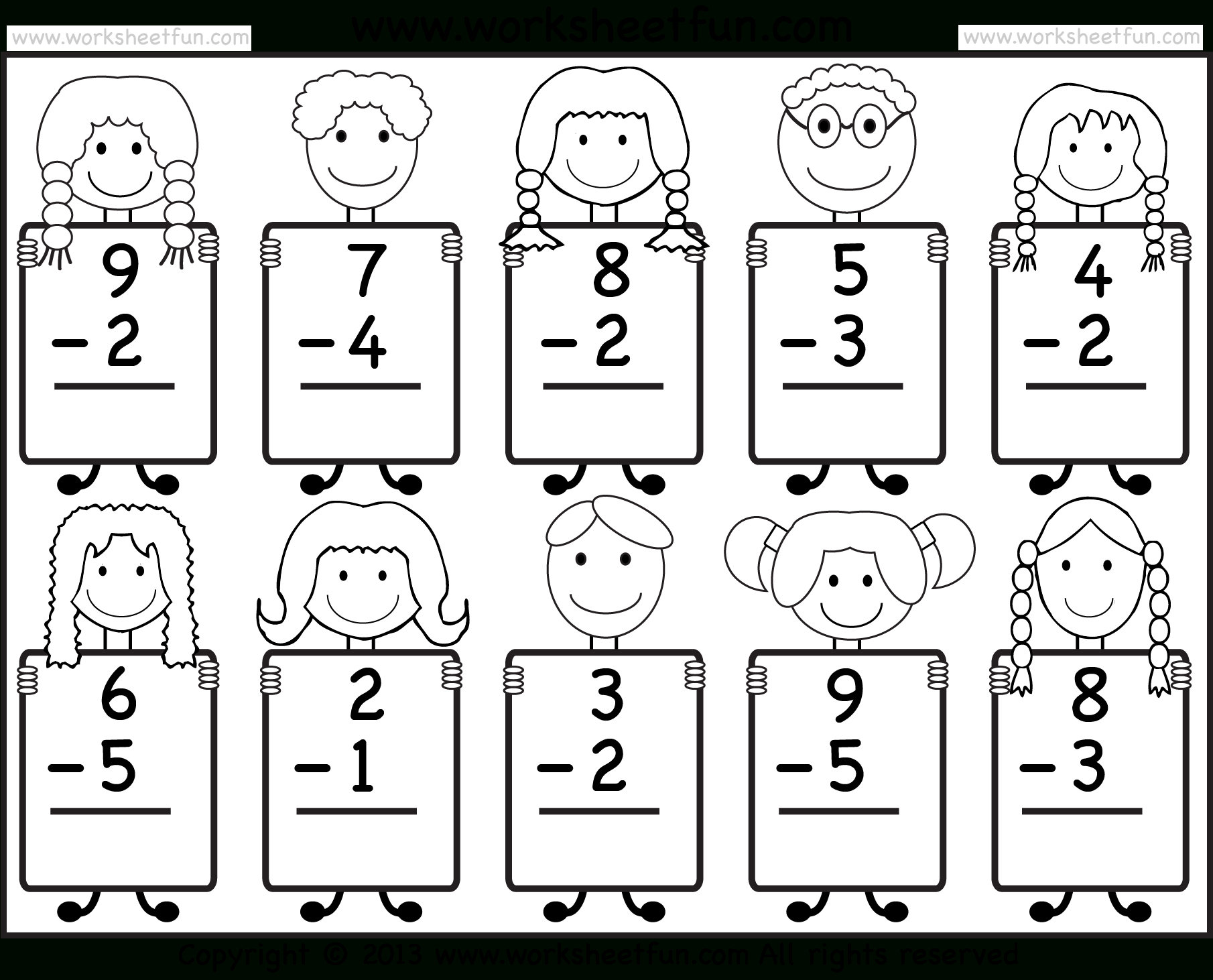 Beginner Subtraction – 10 Kindergarten Subtraction Worksheets / Free - Free Printable Sheets For Kindergarten