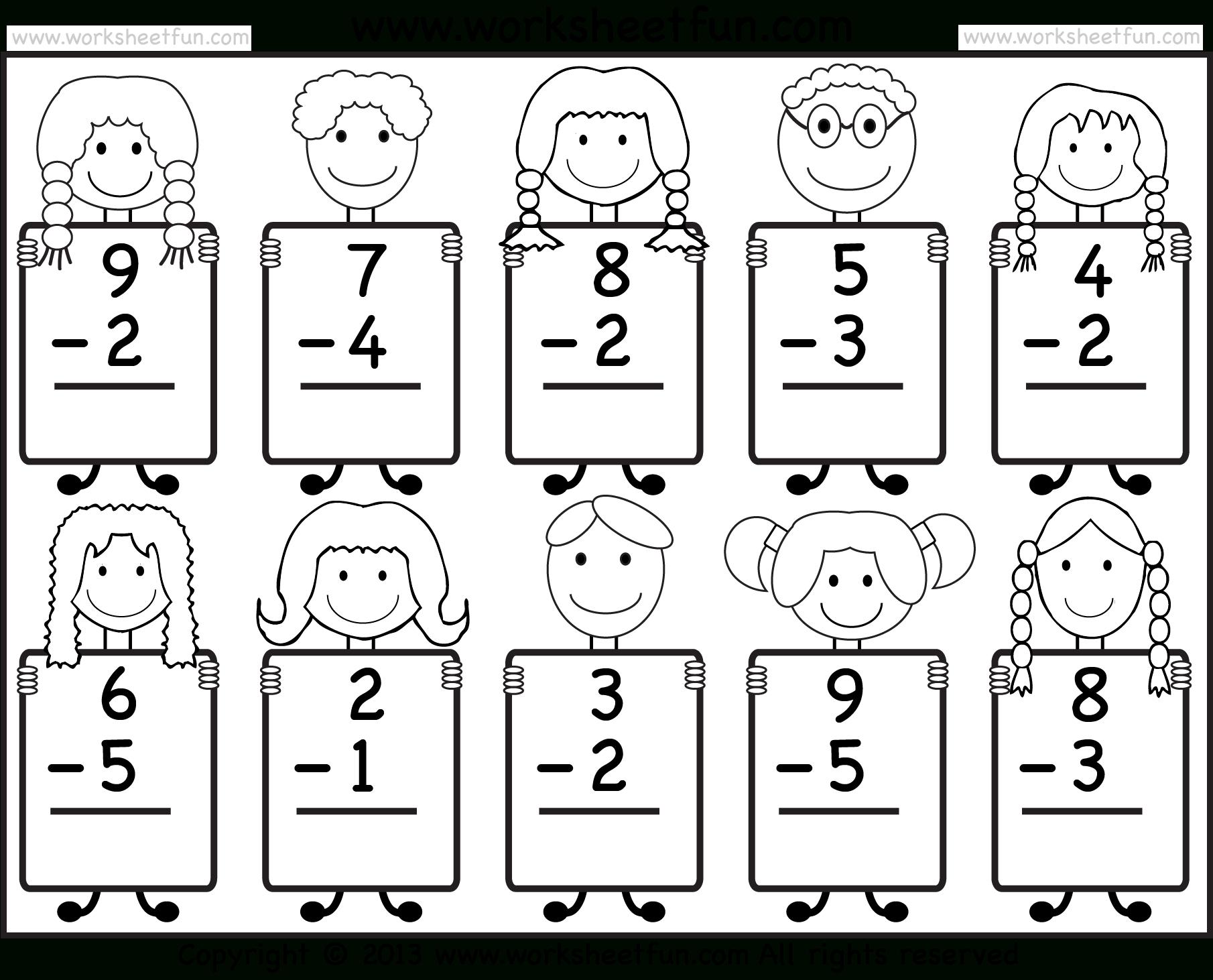 Beginner Subtraction – 10 Kindergarten Subtraction Worksheets / Free - Free Printable Worksheets For Kg1