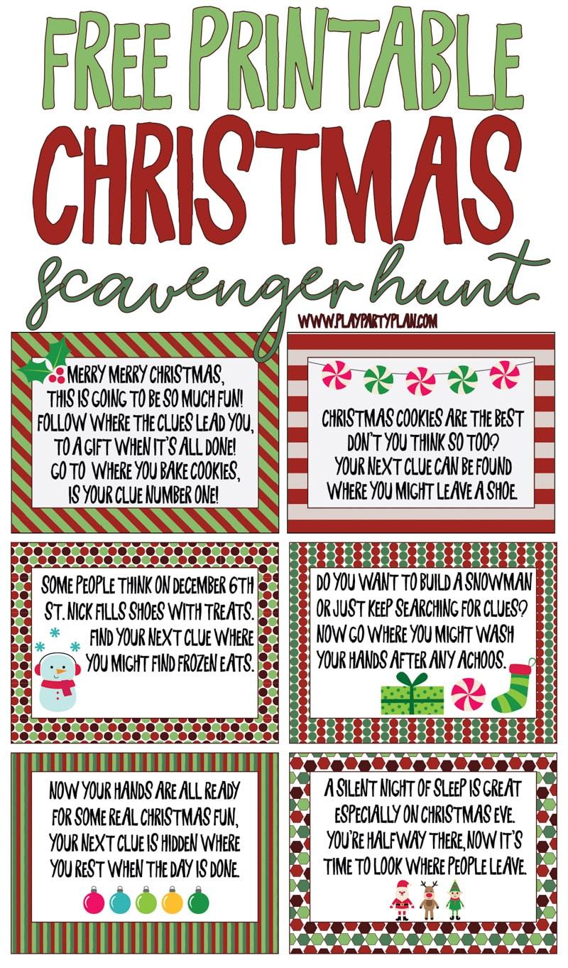 Best Ever Christmas Scavenger Hunt - Play Party Plan - Free Printable Treasure Hunt Games