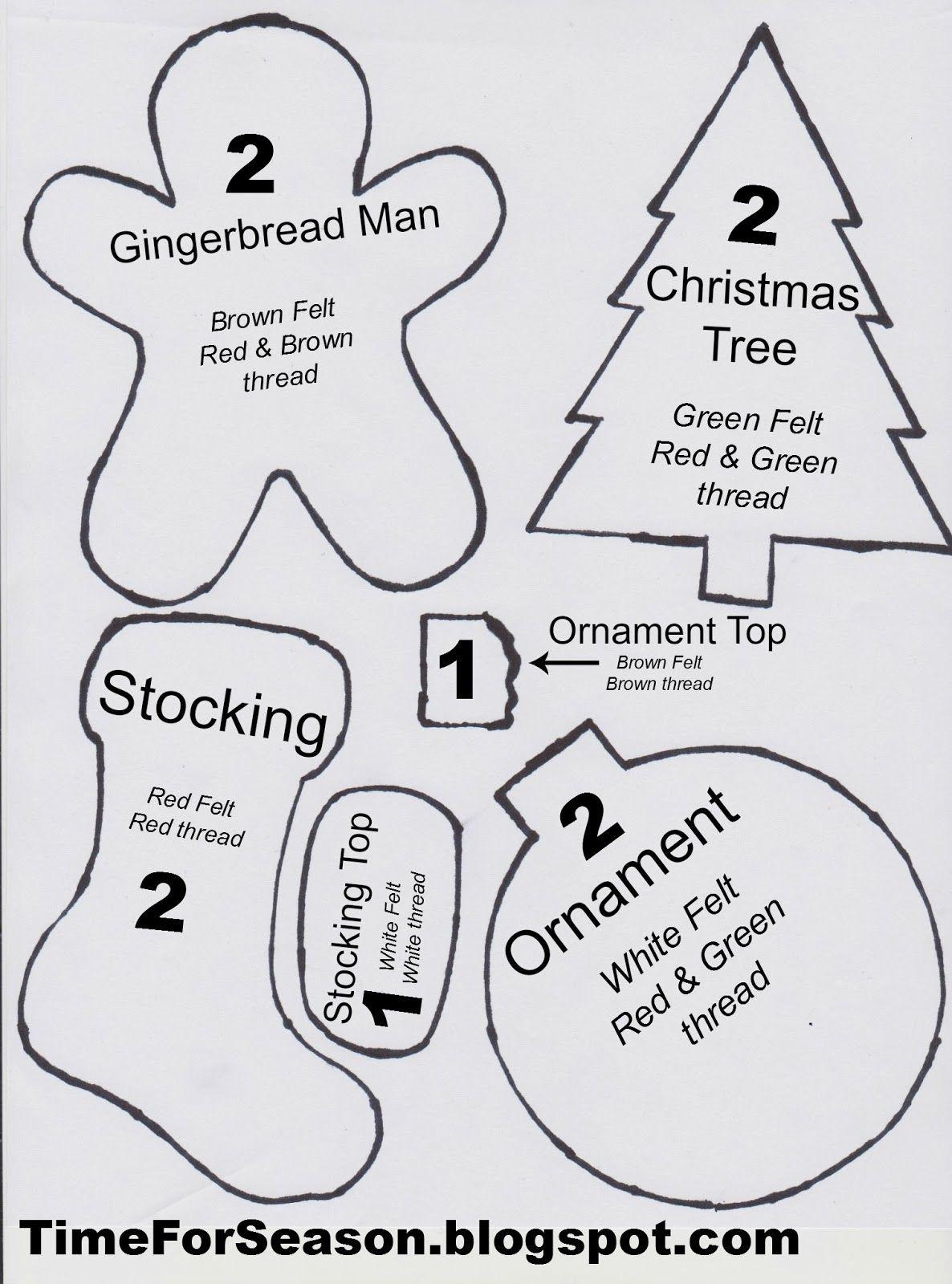 Best Photos Of Christmas Felt Ornament Patterns Printable  … | Ho - Free Printable Felt Christmas Ornament Patterns