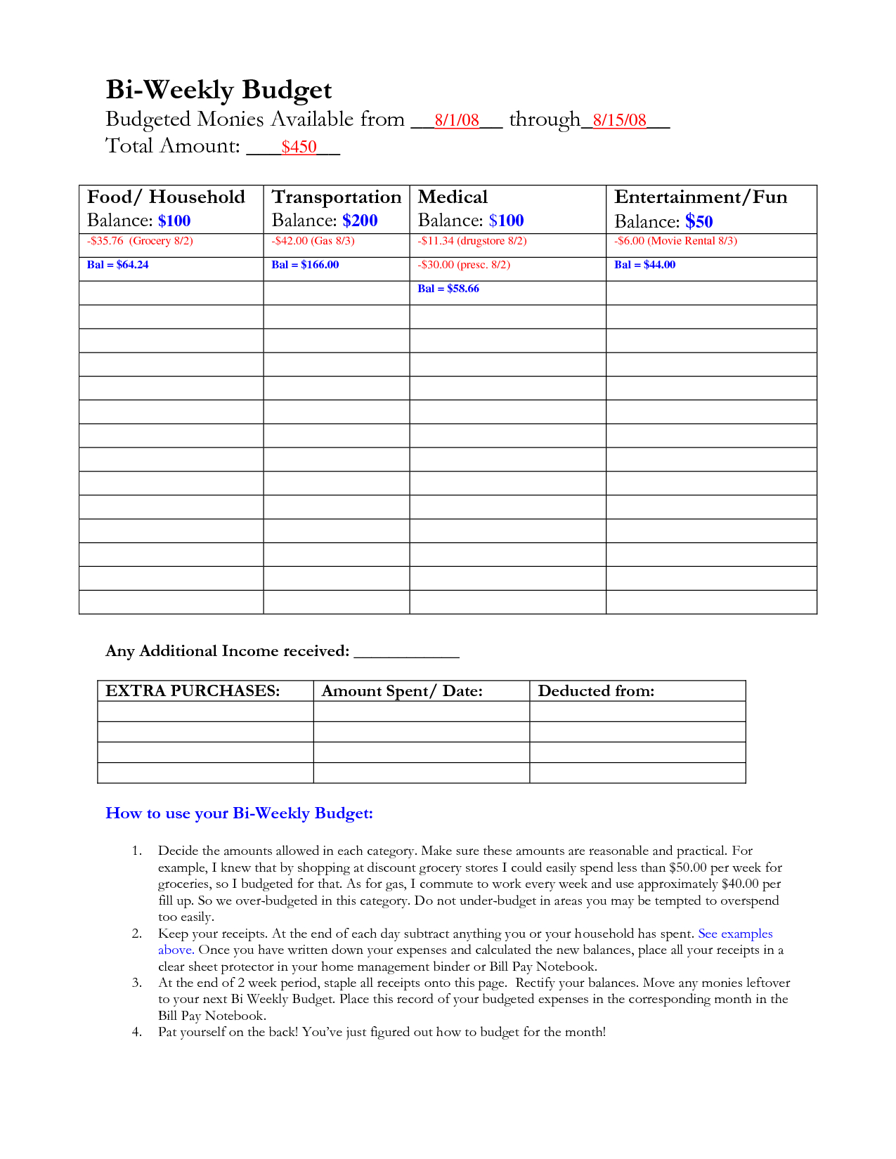 Bi Weekly Budget Calculator Spreadsheet Bonfires And Wine Livin - Free Printable Bi Weekly Budget Template