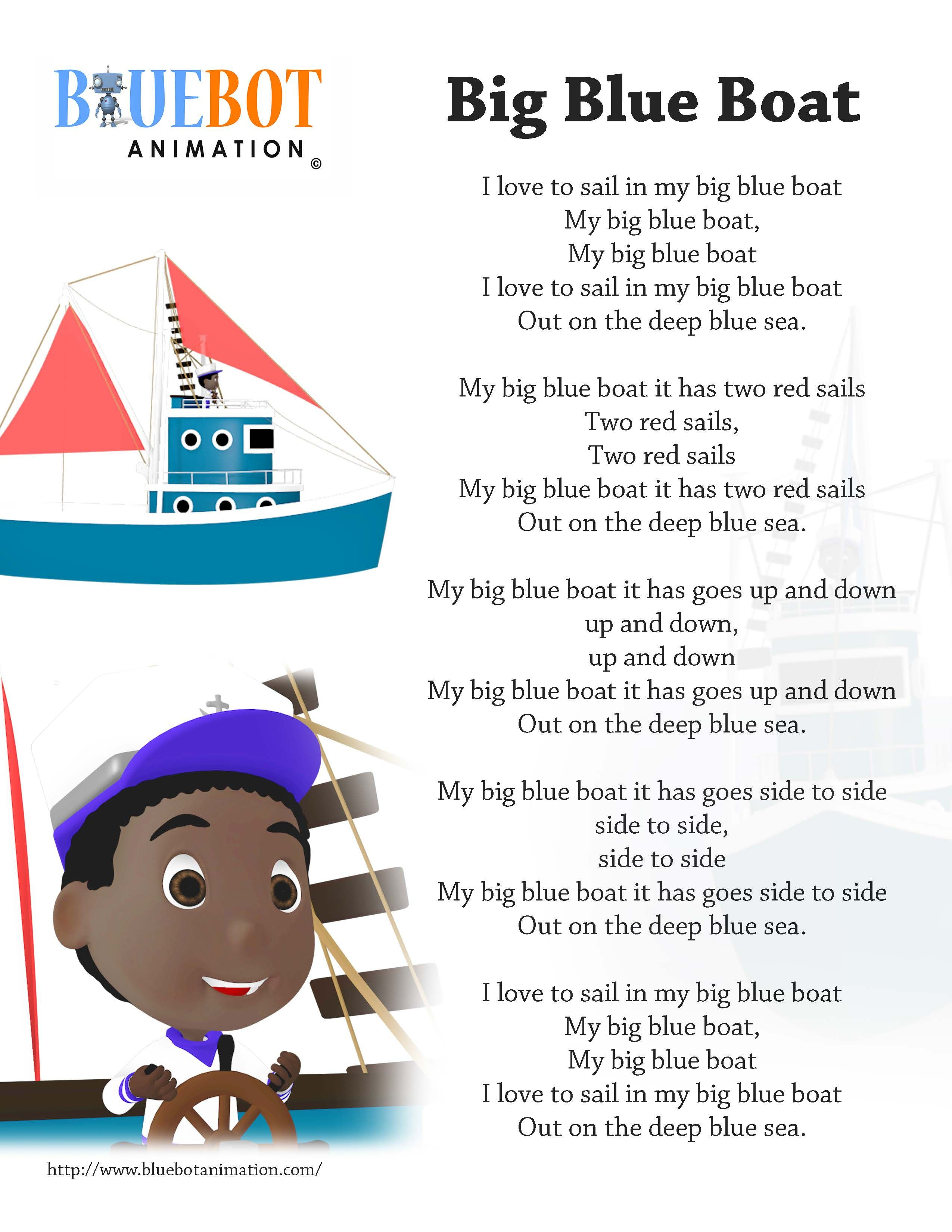 Big Blue Boat Nursery Rhyme Lyrics Free Printable Nursery Rhyme - Free Printable Nursery Rhymes Songs