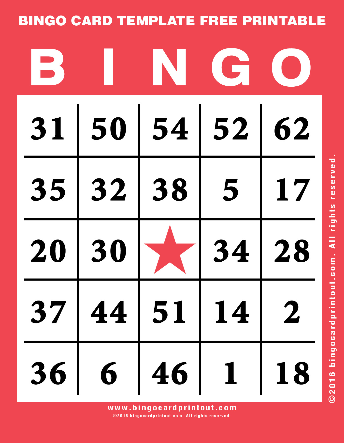 Bingo Card Template Free Printable - Bingocardprintout - Free Printable Bingo Cards