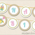 Birthday Banner Printable Free | Owl Party Printable Happy Birthday   Free Printable Happy Birthday Banner