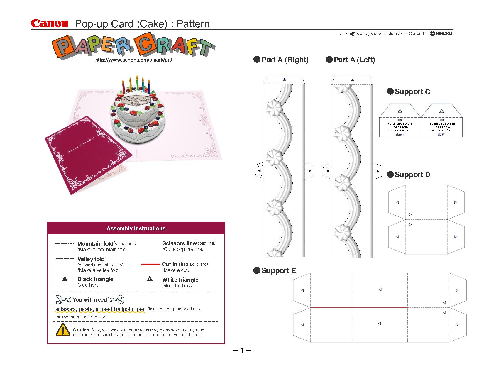 Birthday Cake Pop-Up Card Template   Cards   Pop Up Card Templates - Free Printable Birthday Pop Up Card Templates